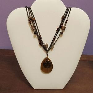 Jewelry - Boho eclectic 4 stranded bead/metal necklace